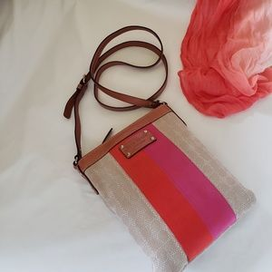 Kate Spade Pink Orange Stripes Crossbody Bag